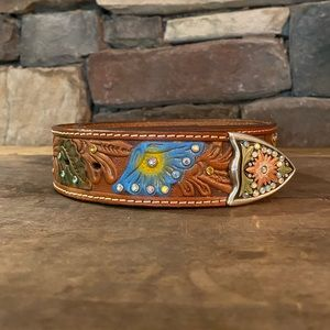 'Nocona'Hand Painted, Tooled, belt with crystals